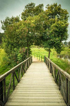 Small wooden bridge on a park Stock Photo