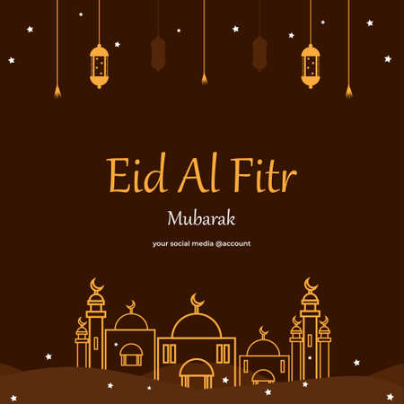 Islamic Holy Month - Eid Al Fitr. Suitable for social media post templates, decorated with beautiful moon design, antique lanterns and mosque silhouette illustration