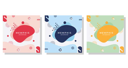 Cute liquid nature with Memphis Style - Set of Editable minimalist square banner template. Red, white, blue, oarenge, green and Pink background color. Suitable for Social Media Post Template, Backdrop, Wallpaper and more