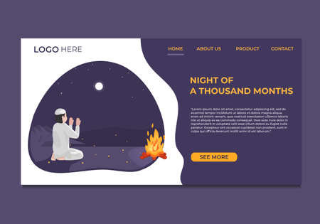 Vector illustration of Landing Page with Islamic theme, Muslim praying in the desert at night. Modern flat design concepts for websites and mobile websites. Easy to edit and customize