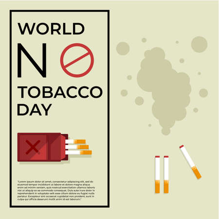 Social media post templates with Vector illustration of Cigarette and smoke, for World no Tobacco day