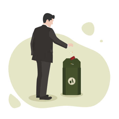 Vector illustration of a Man throwing his cigarettes into the trash. Suitable for World No Tobacco Day, Footage animation, Motion Graphic and many more