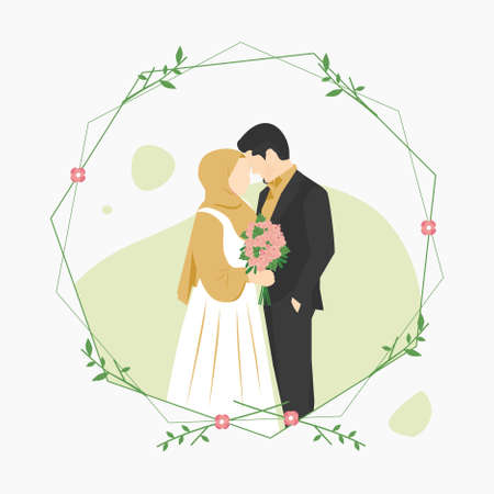 Vector illustration of a Muslim couples wedding invitation isolated on frame, with a Man wearing Black Suit and Woman holding a flower in her hand wearing Yellow Hijab and White dress