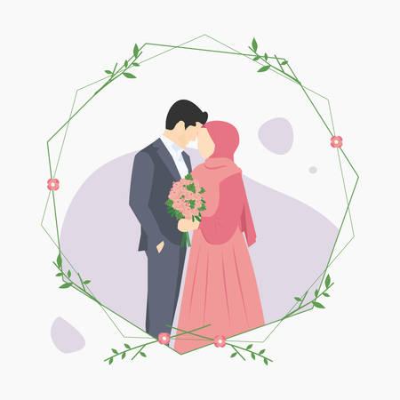 Illustration vectorielle d'une invitation de mariage de couples musulmans isolée sur un cadre en brindille, avec un homme portant un costume gris et une femme tenant une fleur à la main portant un hijab et une robe rose