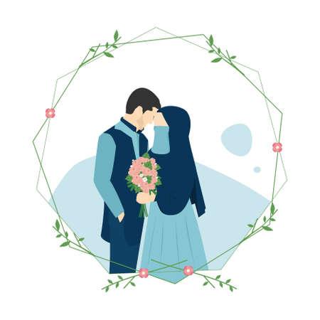Illustration vectorielle d'une invitation de mariage de couples musulmans isolée sur le cadre, avec un homme portant un kurta bleu marine et une femme tenant une fleur à la main portant un hijab, un niqab et une robe bleue