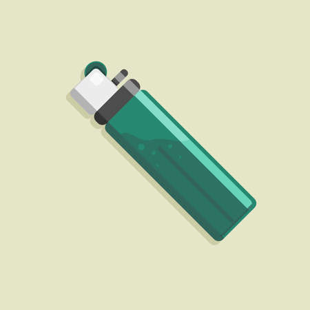 Vector illustration of a gas lighter, with flat lay style
