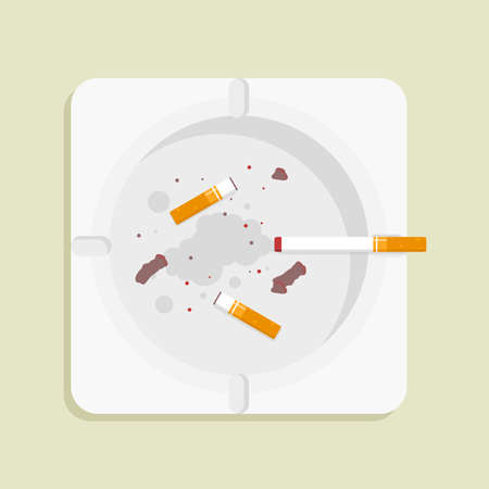 Vector illustration of Square ashtray, in flat lay style Illustration