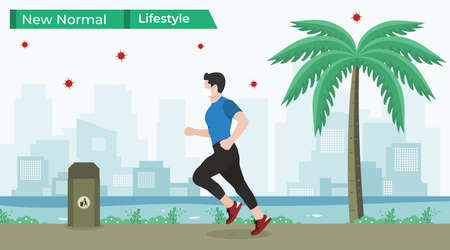 Vector illustration of man jogging in riverbank, decoration with grass, coconut tree and trash bin. New normal lifestyle concept with people keep wearing medical masks after pandemic Covid-19 Ilustración de vector
