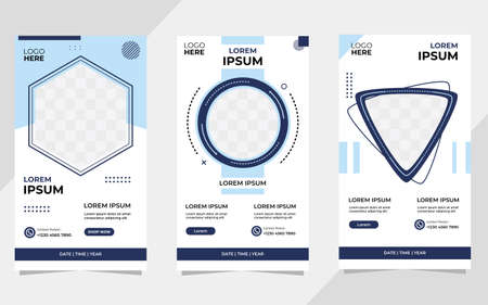 Set of Minimalist Background with memphis style. Suitable for social media Stories post template, Webinar, Seminar backdrop, flyer, ads banner, etc Vetores