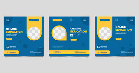 Set of minimalist background with circle yellow frame. Suitable for social media post template, Online education, Business webinar, and Other Seminar Vektorové ilustrace