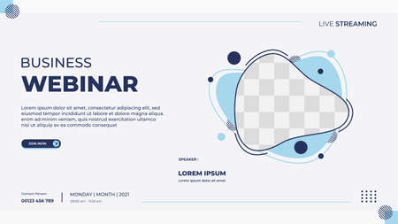 Business webinar banner template for website with blue liquid frame and geometric shape concept