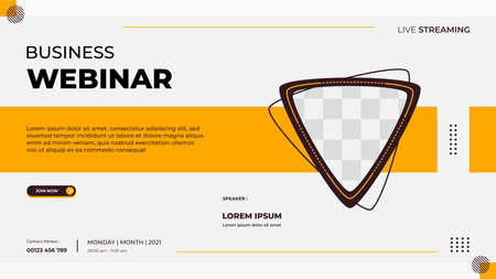 Business webinar banner template for website with triangle frame and geometric shape concept