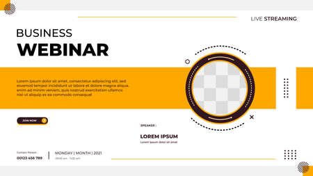 Business webinar banner template for website with circle frame and minimalist concept of geometric shapes