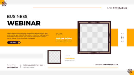 Business webinar banner template for website with square frame and geometric shape concept