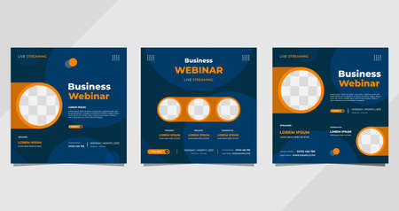 Set of business webinar social media post template with geometric background and circle frame