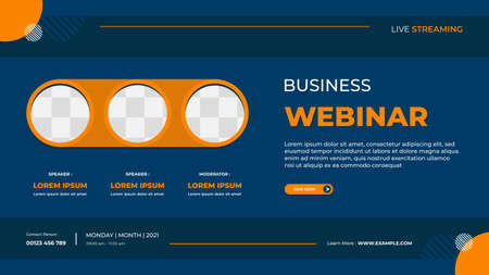 Business webinar banner template for website with orange triple circle frame and blue background Vektorové ilustrace
