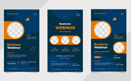 Set of business webinar social media stories post template with blue geometric background and circle frame