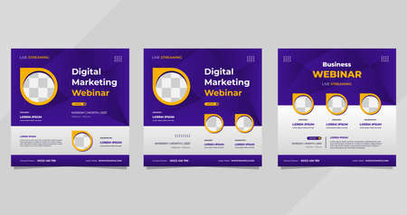 Set of digital marketing webinar social media post templates on purple background and circle frame