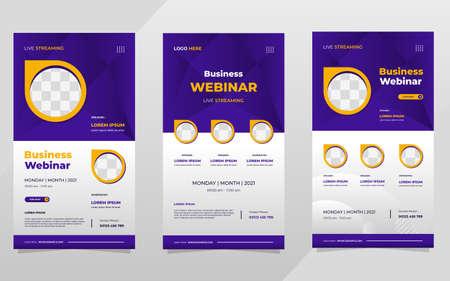 Set of social media stories post template on purple background and circle frame, suitable for business webinar and digital marketing webinar Vektorové ilustrace