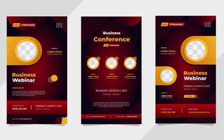 Set of business webinar social media stories post template with red gradient geometric background and circle frame Vektorové ilustrace