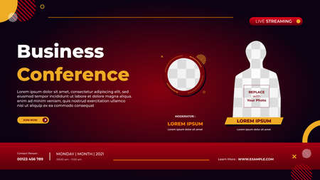 Business conference banner template for website with circle frame and minimal concept of red gradient geometric background