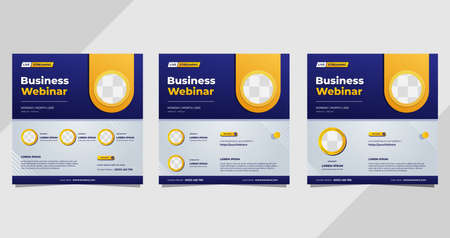 Set of business webinar social media post templates on blue and white background and circle frame