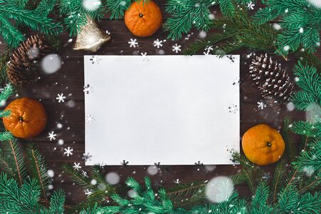 Christmas background for greetings, fir branches, paper, snowflakes, cones, bell citrus and decor