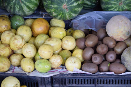 Sad Guavas and Kiwis from the market Stock Photo