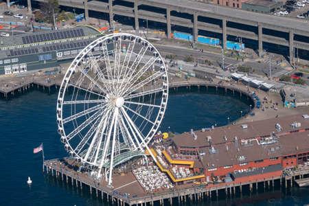 Seattle, Washington - 2019-03-03 - Seattle Ferris wheel aerial photo taken