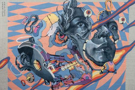 Portland, Oregon - 2018-11-20 - Wall art located near downtown in Portland Editorial