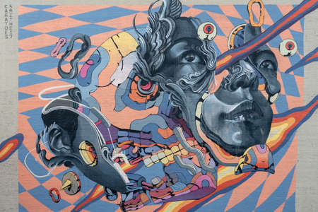 Portland, Oregon - 2018-11-20 - Wall art located near downtown in Portland 에디토리얼
