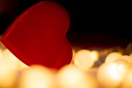 red valentine heart, yellow unfocussed lights