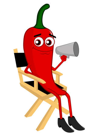 spicy mascot: Director Pepper Illustration