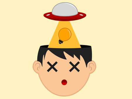 Ufo Stealing Idea Stock Illustratie