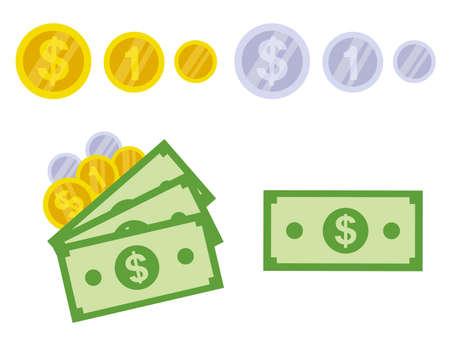 Dólar aislado Ilustración de vector