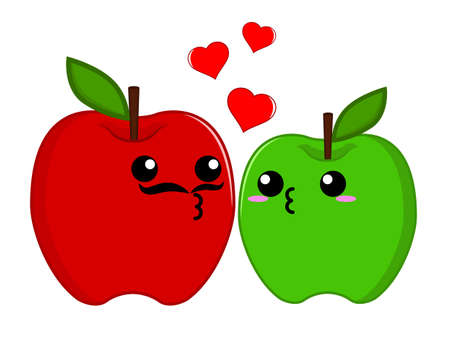 feel affection: Green and Red Apple couple