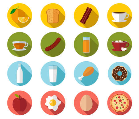 Breakfast flat icons Illustration