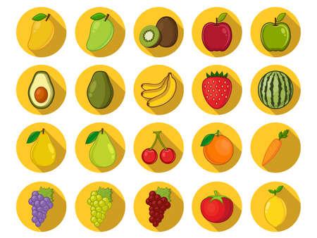 jugo verde: Iconos de frutas Vectores