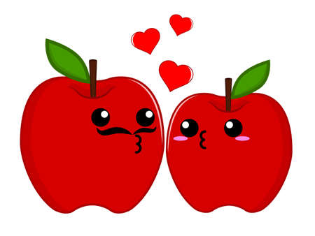 hombre caricatura: Pareja de apple Vectores