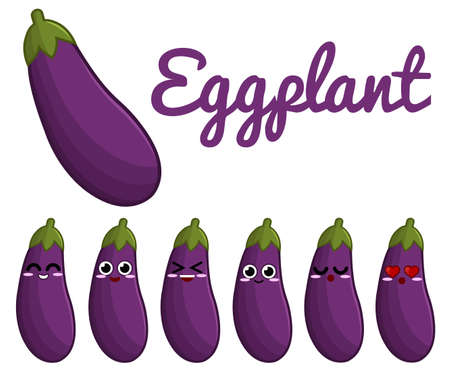 face  illustration: Eggplant character