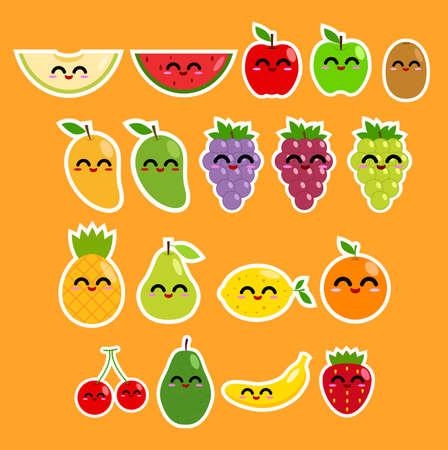 limon caricatura: Etiqueta Colección de la fruta Vectores