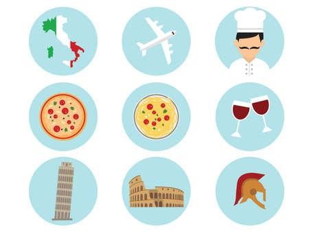 shapes cartoon: Italy icon set