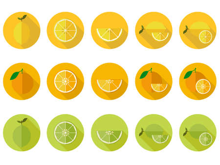 vitamin c: Vitamin C fruit flat icons