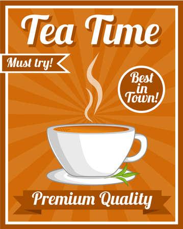 steam of a leaf: Tea Poster Illustration