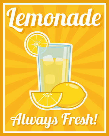 orange fruit: Lemonade Poster Illustration