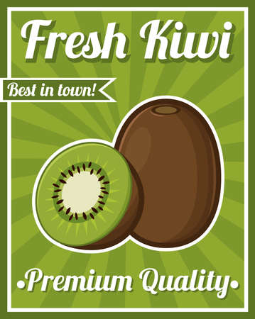 kiwi fruit: Kiwi Fruit Poster Illustration