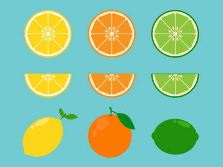 vitamin c: Vitamin C Fruit in flat design style