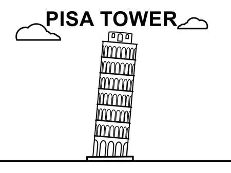 place of worship: Pisa Tower line art