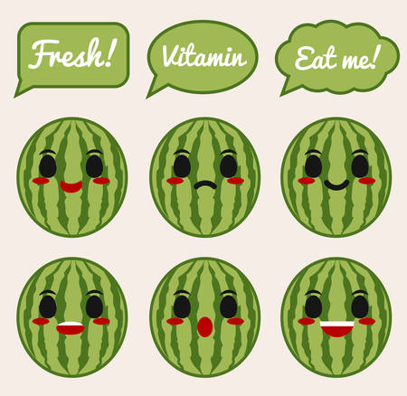 Watermelon character 矢量图像