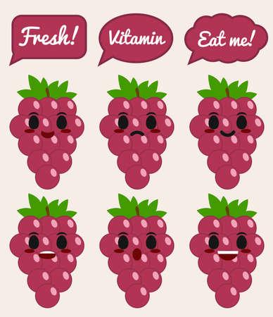 Grape character 矢量图像